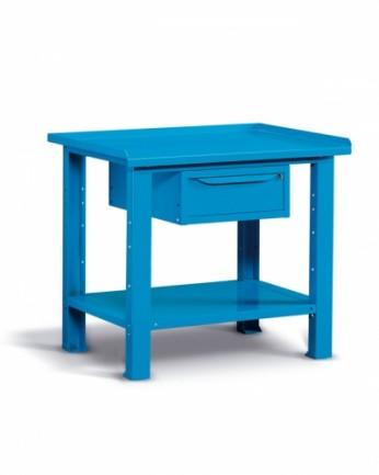 Banco 100x70 H=86 cm con ripiano e cassetto Blu 5012