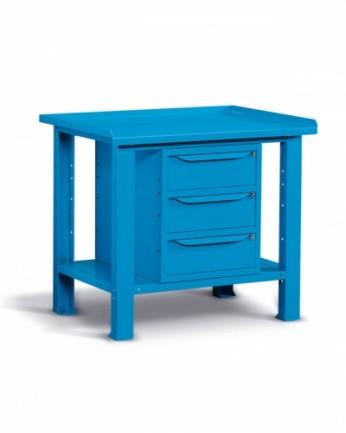 Banco 100x70 H=86 cm con ripiano e 3 cassetti Blu 5012