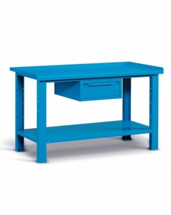 Banco 150x70 H=86 cm con ripiano e cassetto Blu 5012