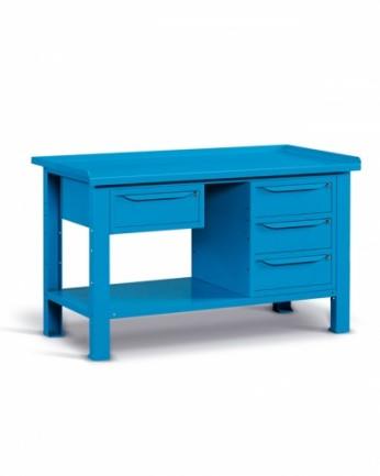 Banco 150x70 H=86 cm con ripiano e 4 cassetti Blu 5012