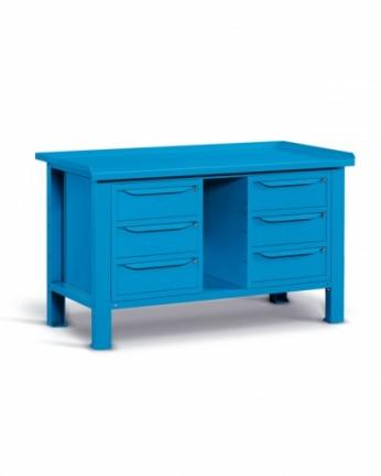 Banco 150x70 H=86 cm con ripiano e 6 cassetti Blu 5012