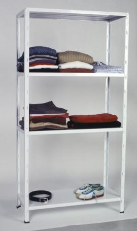 Scaffale in kit a 4 ripiani da 100x40 H 187 cm con fissaggio ad incastro verniciato grigio